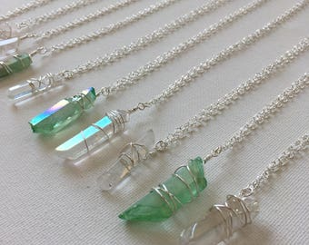 Wire Wrapped Crystal Point Necklace