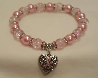 Breast Cancer Bracelet, Pink Ribbon Bracelet, Free Shipping