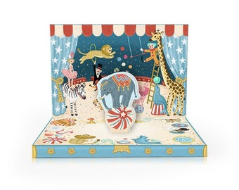 Circus Adventure Greeting Card Musical box  for big and small Birthday Adventures, Twirling Elephant musical card ready for posting