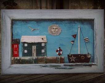 """Tableau décoratif en matériaux de récupération """"Bord de mer"""" / Esprit récup' / Bois recyclé / Art naif / Esprit vintage"""