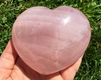 Heart Rose Quartz Crystal - Rose Quartz Heart Crystal - healing crystals and stones - rose quartz heart stone - heart chakra crystals - 12