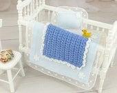 Dollhouse Baby Room, Blue Bedroom, Mini Baby Blanket, Crib Afghan, Bedding Set, Artisan Miniatures, Dolls Nursery Accessory, One Inch Scale