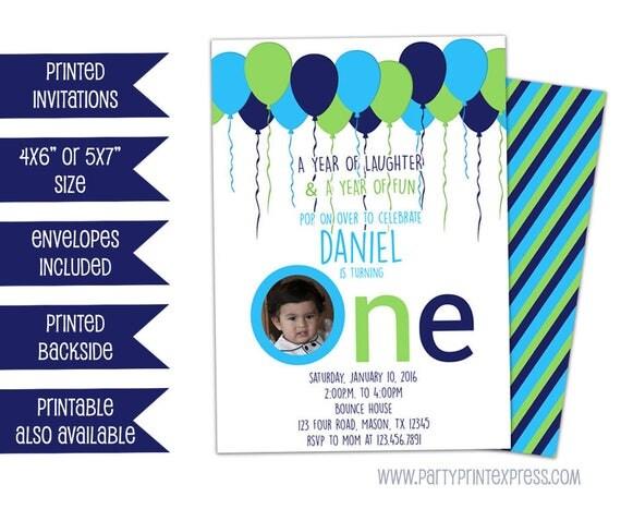 Boy 1st Birthday Invitation Lime Balloon Birthday Invitations