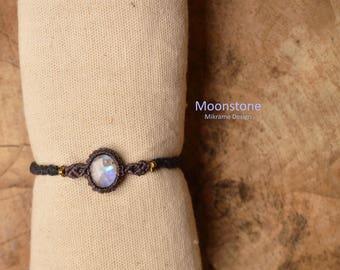 Moonstone Bracelet,Rainbow Moonstone,Macrame Moonstone Bracelet,Moonstone Jewelry,Healing Crystal,Flashy Labradorite,Birthstone Jewelry,Gift