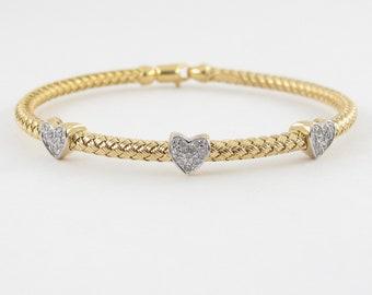 14k Yellow Gold Diamond Heart Bangle Bracelet -  Italian Made Soft Bangle Bracelet