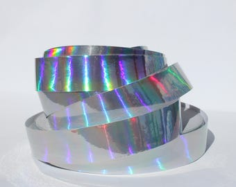 "1"" Silver Metallic Rainbow Color Shifting Decorative Hula Hoop Tape - 50, 100, or 150 ft Roll"