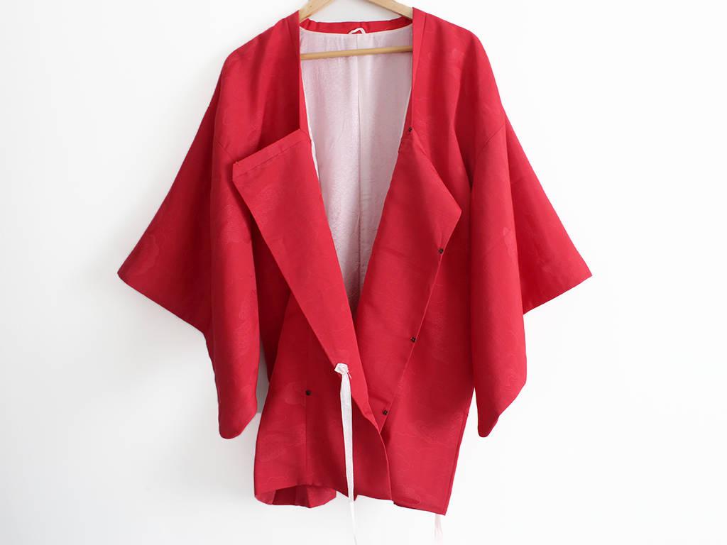Kimono jacket red jacket haori jacket red kimono Vintage