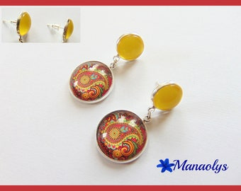 Stud Earrings, double cabochons, multicolored patterns