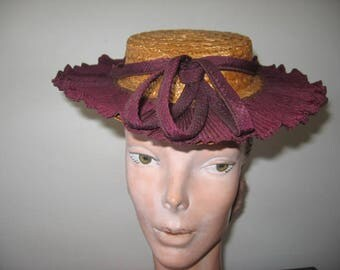 1940's Straw Sailor with Skirted Brim, New York Creation Label!