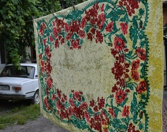 Vintage 1970's Luxurious Plush Velvet  Yellow Green Red Bedspread or Tablecloth with Fringed Edging - Home decor - Made in USSR