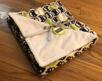 Baby Blanket - Navy and Lime Cars
