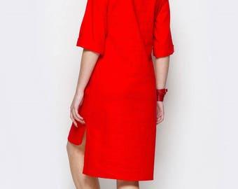 Linen red dress Knee dress Boho dress Casual dress for woman Box  dresses Cute red dress