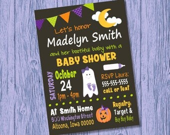 Custom Halloween Baby Shower Invitation Girl