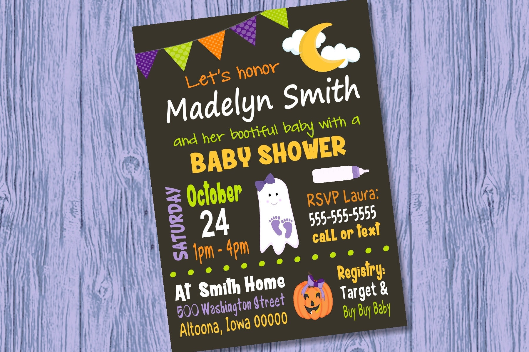 Custom Halloween Baby Shower Invitation Girl [E10261624441732319M ...
