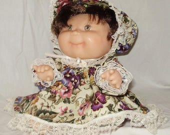 """Purple Print Dress Set for 12"""" Cabbage Patch Kid"""