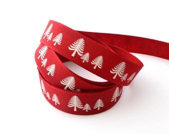 Christmas Ribbon trees red 15 mm