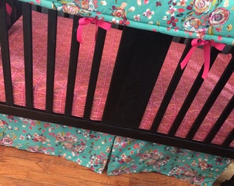 Custom Crib Bedding Set in pink, mint and navy,, it has modern fabrics that have a boho feel