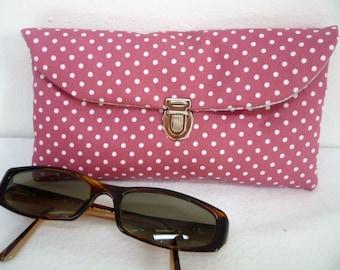 Bezel old rose, accessory case bezel, bezel case dots fabric, women glasses case