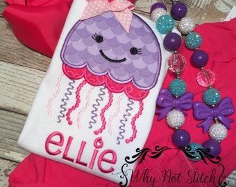 Summer applique, summer outfits, Girls Beach shirt, monogram beach shirt, jelly fish shirt, jellyfish outfit, girls jelly fish outfit