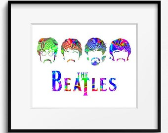 The Beatles Psychedelic Watercolor Art Print (P2012) John Lennon, Paul McCartney, George Harrison, Ringo Starr, Music, Pop Art