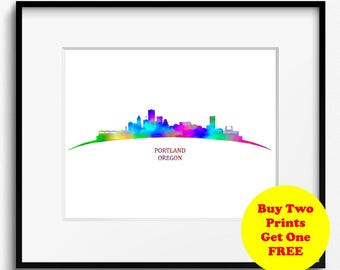 Portland Skyline Watercolor Art Print (217) PortlandCityscape, Portland Painting, Portland Watercolor, Oregon Art Print