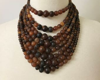 Vintage Gerda Lynggaard - Monies Style Multi Strand Buffalo Horn Beads Collar Necklace