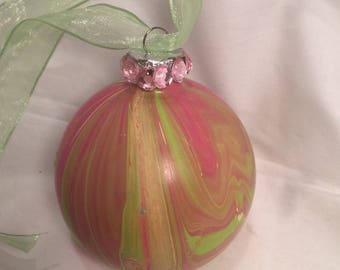 Pink and Green Swirl Acrylic Pour Painted Glass Christmas Ornament Rhinestones and Ribbon