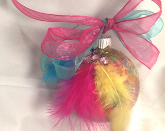 Unicorn Colors Pink Yellow Blue Hand Marble  Painted Round Glass Christmas Ornament Feathers Rhinestones