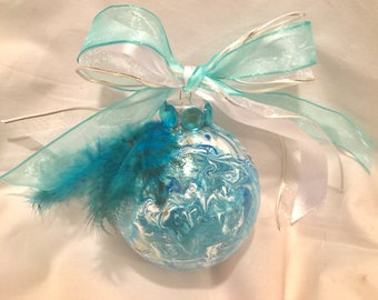 Marble  Painted Turquoise Blue  White Round Glass Christmas  Ornament Rhinestones Ribbon