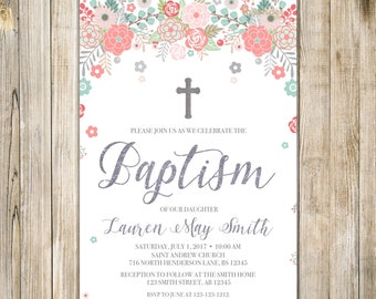 PINK Teal Floral BAPTISM Invitation, Printable Rustic Girl Baptism Invite, Silver Baby Girl First Communion, Christening Christian LDS LA23