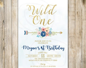 FLORAL WILD ONE Birthday Invitation, Wild One Invite, First Birthday Invites, Tribal 1st Birthday, Boho Arrow, Blue and Gold