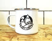 Camping enamel mug, Get Lost enamel mug, happy campers, mountain mug, illustrated enamel mug, travel mug, gift for travellers, wanderlust