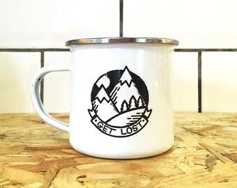 Camping enamel mug - Get Lost enamel mug - mountain mug - illustrated enamel mug - travel mug - gift for travellers - wanderlust - camping