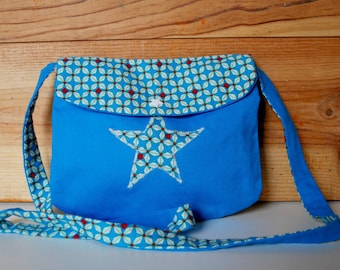 Turquoise girl graphic flap bag