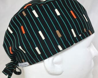 "Black Teal Stripe Mens Fitted surgical cap surgeon's hat Fitted scrub caps scrub hats for Men OR surgery skull biker cap 23"" Lovenstitchies"