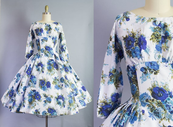 1950s Floral Cotton Day Dress   Small (36B/26W)