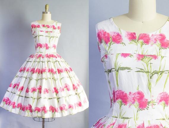1950s Pink Floral Dress | Small (35B/26W)