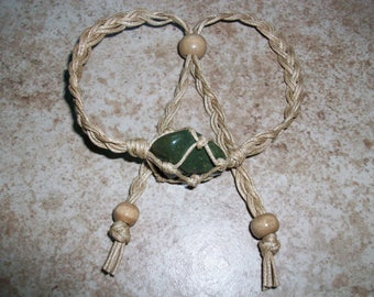 Rainforest Jasper (Rhyolite) Hemp Bracelet