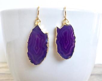 Small Purple Geode Earrings Agate Slice Earrings in Gold