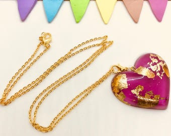 Enchanted Gold Foil Heart Charm Necklace