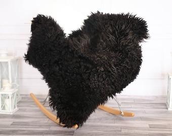 Genuine Rare Gotland Sheepskin Rug - Curly Fur Rug - Natural Sheepskin - Black Sheepskin #NOVHER19