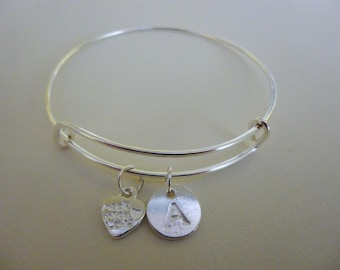 Silver wire charm bracelet/ initial bracelet/adjustable bracelet