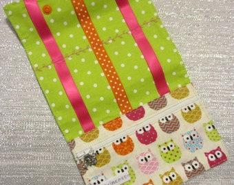 Christmas, birthday * pouch, clutch pins, elastic, cotton, owls multico