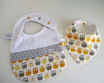 Set of 2 bibs lined in yellow/gray owls cotton and sponge