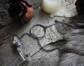 Tibetan Quartz Lariat Necklace 2 // Game of Thrones Inspired // Gothic // Boho // Gypsy // Witch // Halloween // Metaphysical Jewelry
