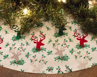 Christmas Tree Skirt-Deer-Deer Tree Skirt-Country Christmas-Barn-Cabin Christmas Decor-Antlers-Deer Rack-Holiday Decor-Christmas Decor-36""