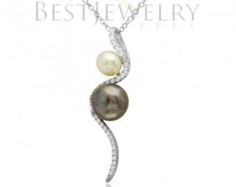 Sterling Silver Rhodium Plated White & Dark Purple Fresh Water Pearl With Slanted CZ Design Necklace