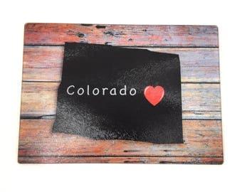 Colorado State Chalkboard Style Cutting Board ,State Gifts, I Love Colorado