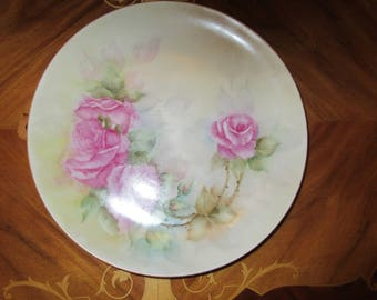 GERMANY HAND PAINTED Rose Plate