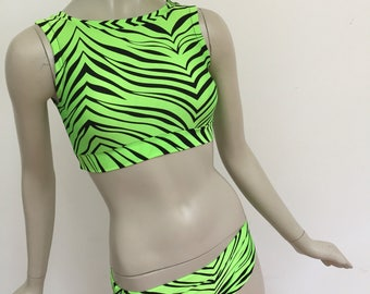 Bright Green and Black Zebra Lycra Bathing Suit. Tank Top and Bikini Swim Set.